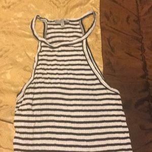 Black and white striped crop tank top